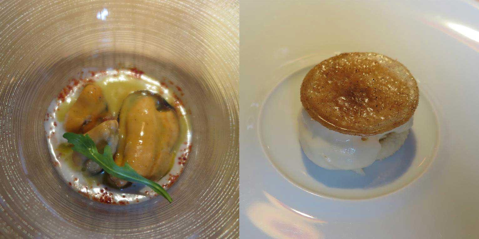 빌바오 미나 레스토랑의 애피타이저. 조개코코넛수프와 디저트 크렘브륄레.