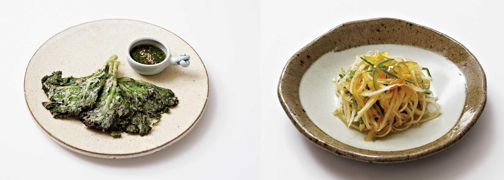 (왼쪽)상추대궁전 -상추대궁을 칼등으로 살살 두드려 편 뒤 부침옷을 입혀 지져낸 전. 초간장을 곁들여 먹는다. 쌉싸름한 것이 제철의 향을 그대로 즐길 수 있는 메뉴다.(오른쪽)도라지유자청생채 -도라지를 소금에 절인 뒤 가늘게 찢어 1~2년간 담근 유자청, 감식초, 소금, 매실액 등의 양념을 넣어 버무려 만든다. 도라지의 아삭함과 유자의 상큼함을 동시에 즐길 수 있다. ©양성모
