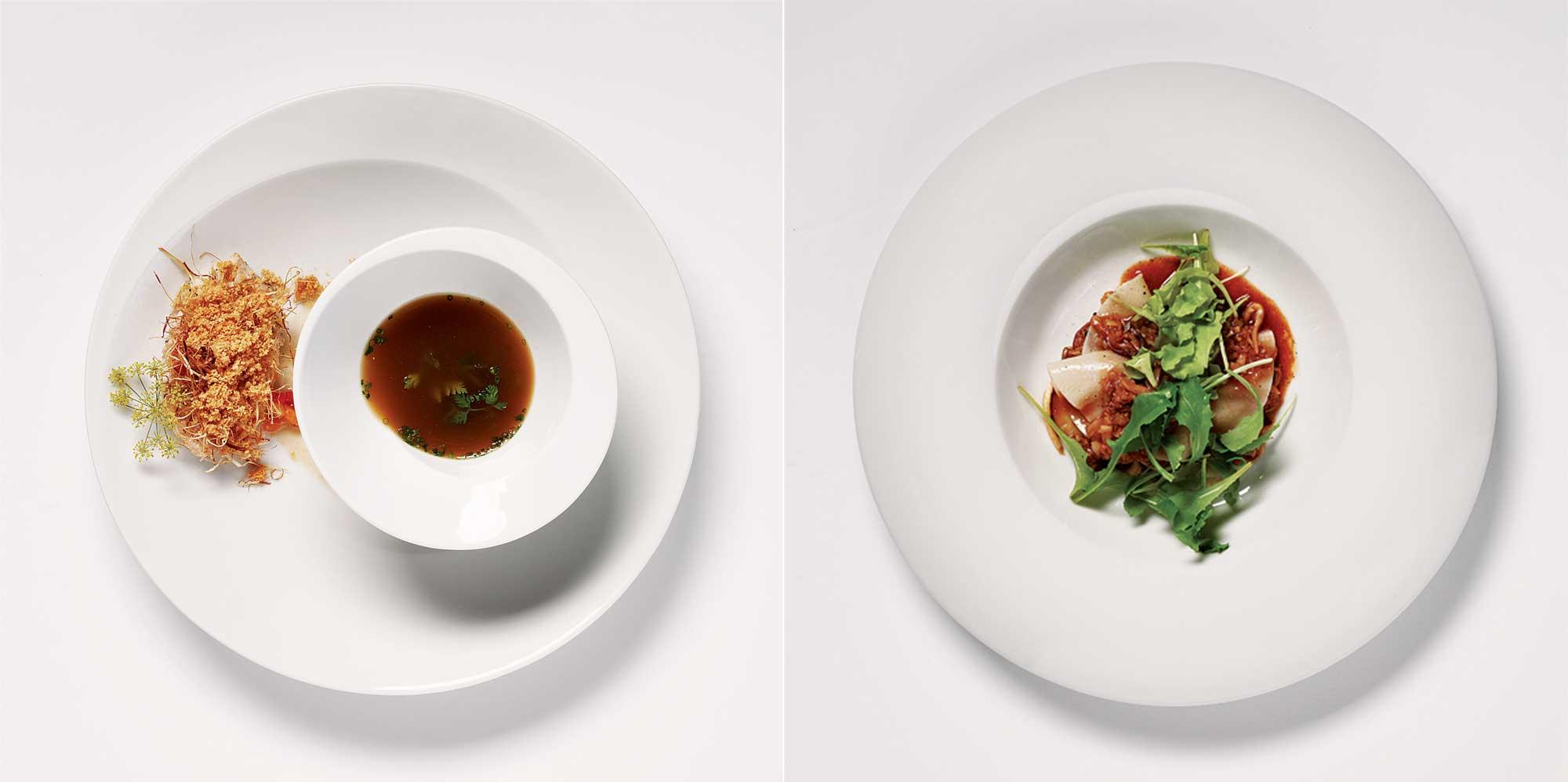 (왼쪽부터)부산에서 올라온 존도리로, 바삭한 파튀김과 마늘파우더의 진한 풍미와 촉촉한 존도리가 잘 어우러진다. 베이컨 콩소메에 적셔 먹으면 중화요리의 풍미를 느낄 수 있다. / 버섯라자냐는 오픈형 만두로, 달달한 버섯불고기 맛과 쫀득한 만두피의 식감이 인상적이다. 기름지거나 느끼하지 않다. ©심윤석, 양성모