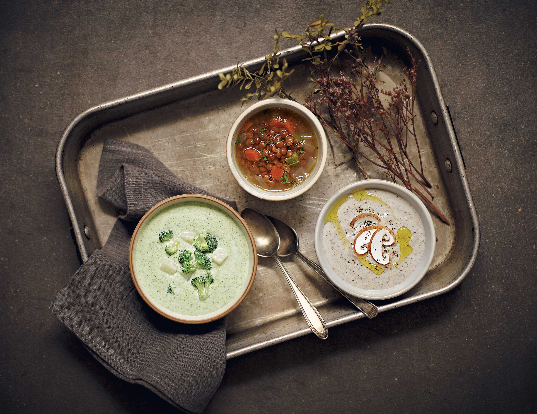 (왼쪽부터) 브로콜리수프, 렌틸콩수프, 표고버섯수프 ©양성모