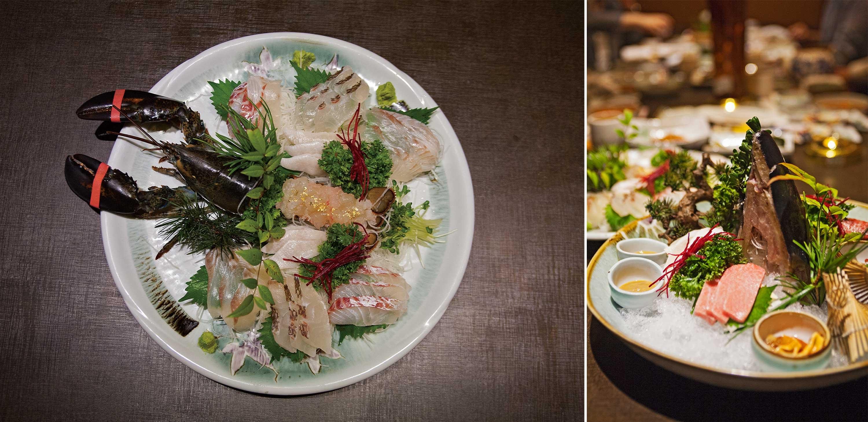 (왼쪽)일송의 로얄 코스 메뉴 중 첫 번째 요리. (오른쪽)일송의 두 번째 코스 메뉴 ©현관욱