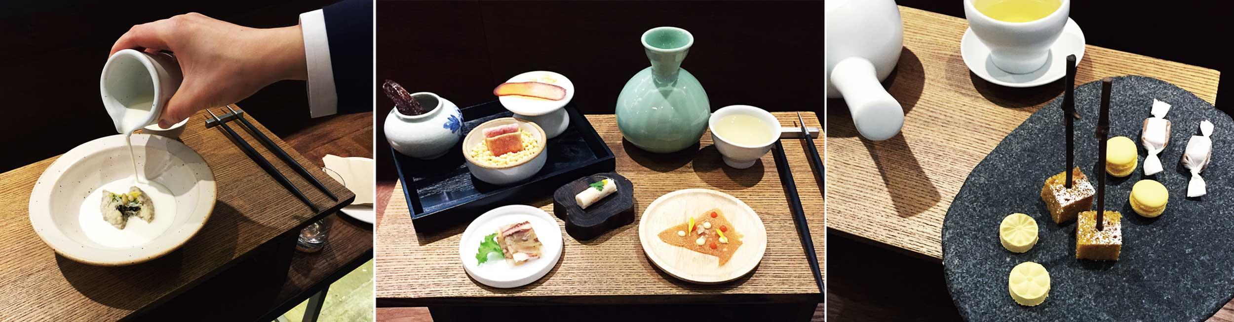 (왼쪽부터)가평 잣국물을 부어먹는 무만두. 첫 번째 코스 주안상. 식사의 마무리, 다과.© 앤더슨배