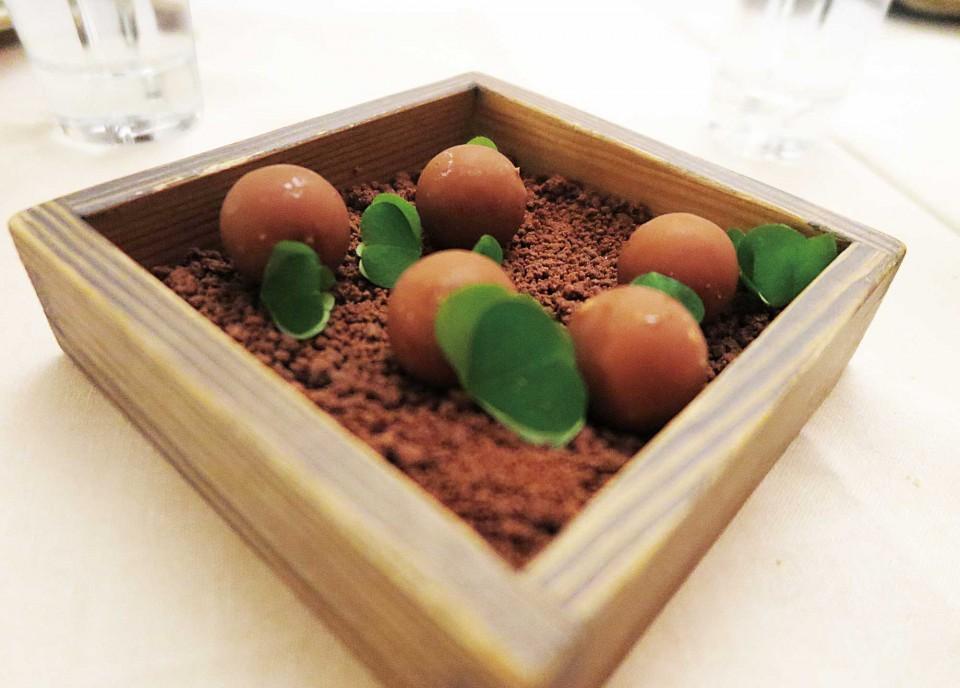 올로 라빈톨라 레스토랑의 새싹초콜릿디저트. © 한상호