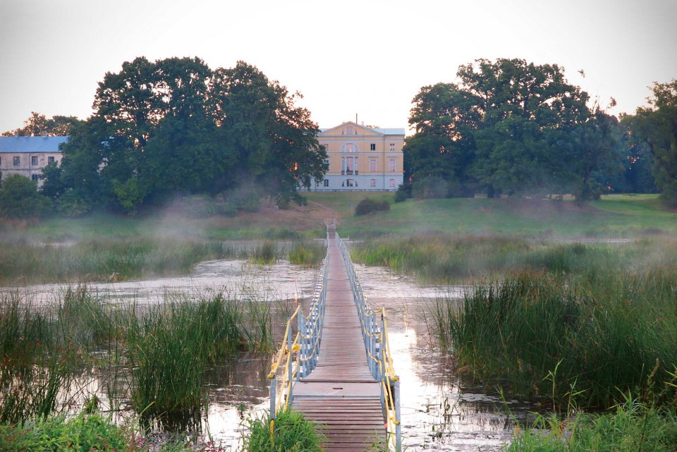 메트조네 궁의 새벽 안개. 수초가 넘실대는 물 속은 물고기들의 천국이다. © 한상호