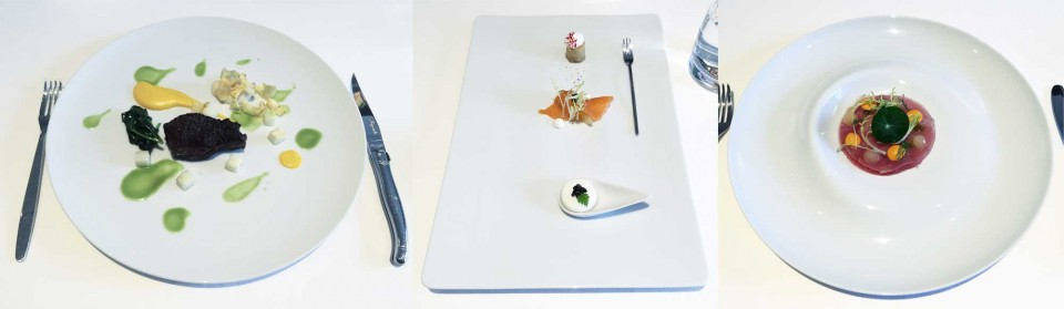 (왼쪽부터) 스테이크, 전채요리, 참치라비올리. © 앤더슨배