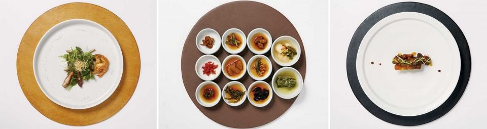(왼쪽부터) 전복새우샐러드, 코스와 함께 나오는 반찬류, 한우꼬리찜 © 양성모, 정현석