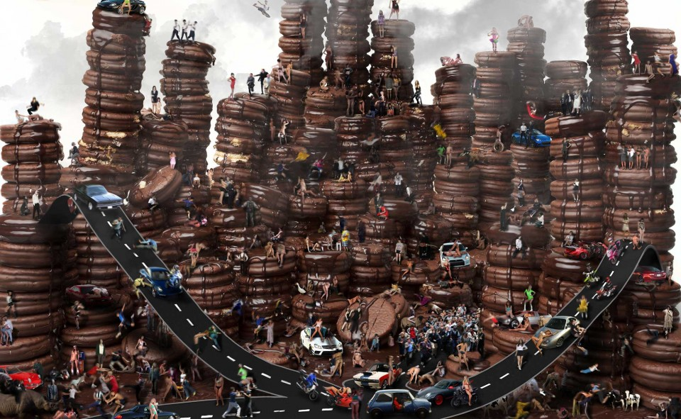 초코파이. 디지털 C 프린트, 130×80cm, 2015. 달콤한 초코파이가 거대한 벽을 이룬다. 연결된 도로와 사람들의 모습이 혼란스럽다. © 박성영