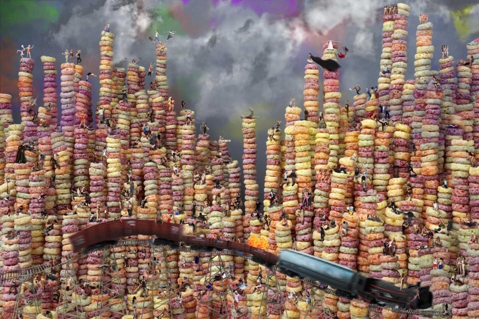 시리얼. 디지털 C프린트 120×80cm, 2015. 알록달록한 시리얼이 높이 쌓여 있고 그 사이사이 다양한 욕망을 가진 사람들의 이미지가 뒤섞여 있다. © 박성영