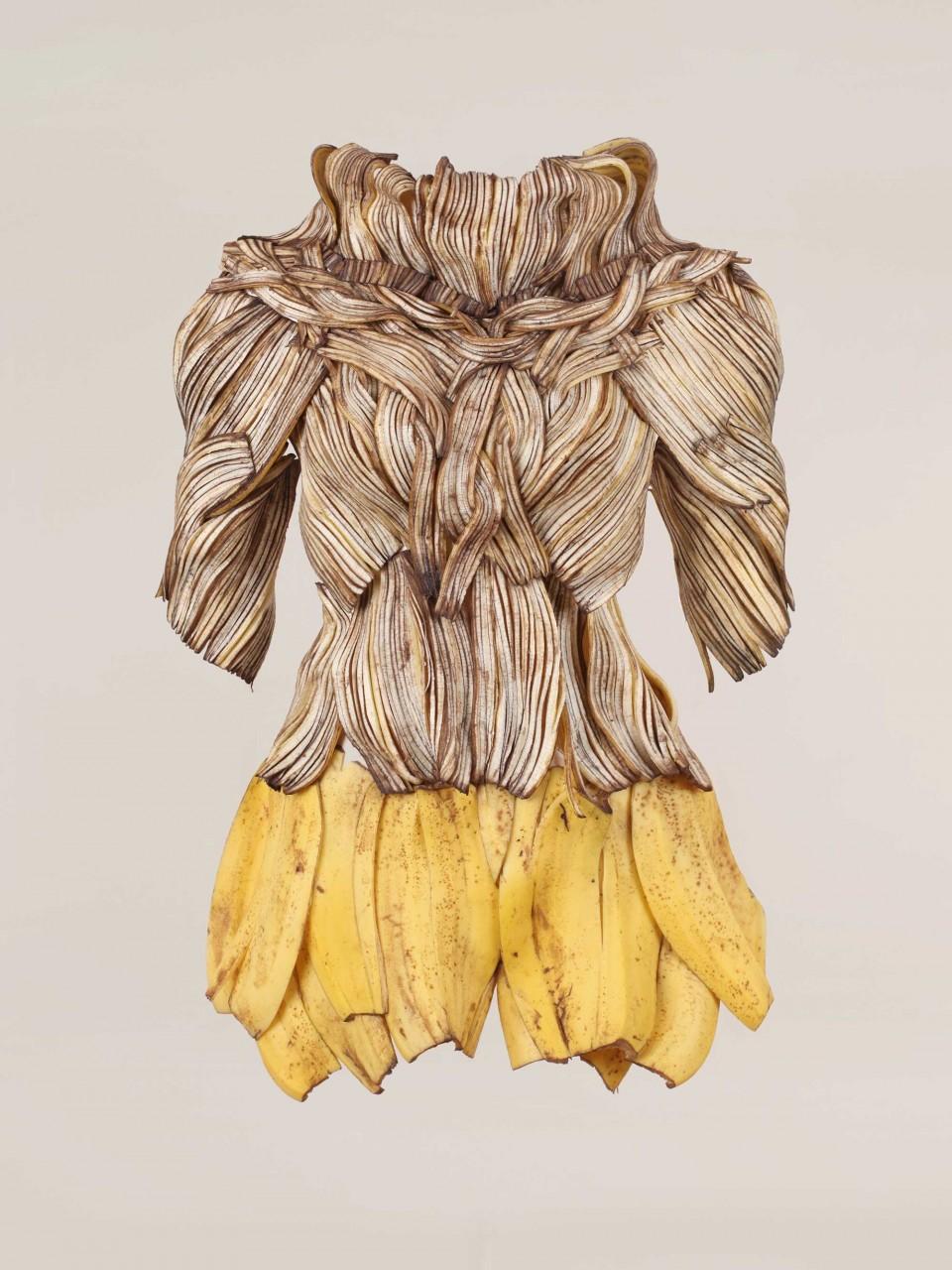 바나나. 피그먼트 프린트, 120×160cm 2010. 바나나로 니트와 스커트를 만들었다. 니트는 바나나의 갈변하는 성질을 이용한 것이다. © 박성영