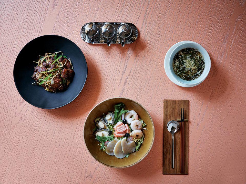 삼채쇠고기, 패주채두부수프, 해산물샐러드 © 양성모