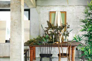 테이블 위 오브제와 식물들의 흐트러진 듯 질서를 갖춘 앙상블이 독특한 감상을 준다.