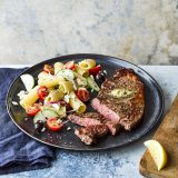 Seared steak with pasta salad